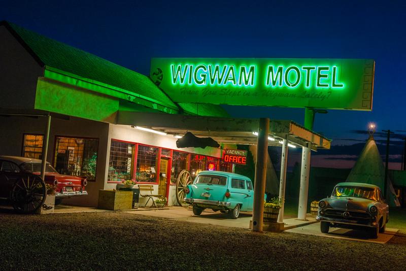 Wigwam Motel Village #6 at Night