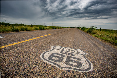 Route 66 Texas road marker