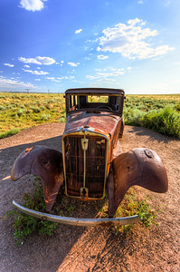 Old car on Route 66 in the Painted desert Arizona