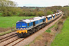 59002 passes Great Cheverell with 6V18, Hither Green to Whatley empties on 10 April, 2012.