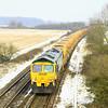 66613 passes Berkley Marsh with 6C73, the 12:12 Westbury to Fairwater HOBC working on 24 January, 2013