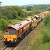 59203 passes Bunns Lane, near Witham Friary, with a 12:51 Westbury to East Somerset Junction ballast working in connection with re-laying on the Merehead ('East Somerset')  branch. 3/09/11.