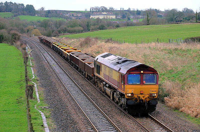 66228 at Wyke Champflower with an engineering train on 24 February, 2007.