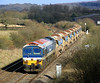 59102 near Witham Friary with 6W35, 13:38 Westbury to East Somerset Junction ballast for a worksite near Wanstrow on the Merehead Branch.  25/02/12.