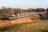 59104 passes Woodbrough on 29 November 2012 with 7C77, 12:40 Acton to Merehead empty 'jumbo' stone train.