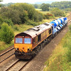 With the leaf-fall season already under way, Network Rail has begun to deploy its Rail Head Treatment Trains (RHTTs) strategically across the system.  66126 was captured near Witham Priory with 6Z17, an RHTT set movement from Westbury to St Blazey in Cornwall.  When at work, these trains are normally 'top and tailed'.  3/09/11.