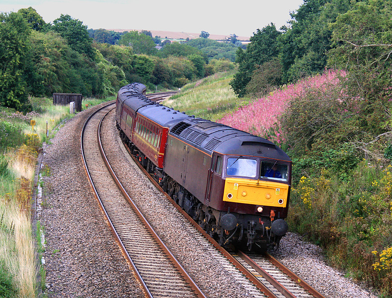 Shot #2 of 47500 passing Shockerwick with empty stock from Southall to Bristol for the following day's 'Weymouth Seaside Express' steam working.  20/08/11.