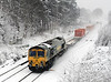 In full blizzard conditions, 66532 powers through Bathampton with 4L32, 11:00 Bristol - Tilbury containers on 18 January, 2013.