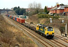 Taken from the same bridge as the previous shot, looking the other way, 70003 passes Chipping Sodbury with 4O51, the Wentloog to Southampton Freightliner. Sometimes, this train is 'looped' here to allow an 'up' HST to overtake.  05/03/11.