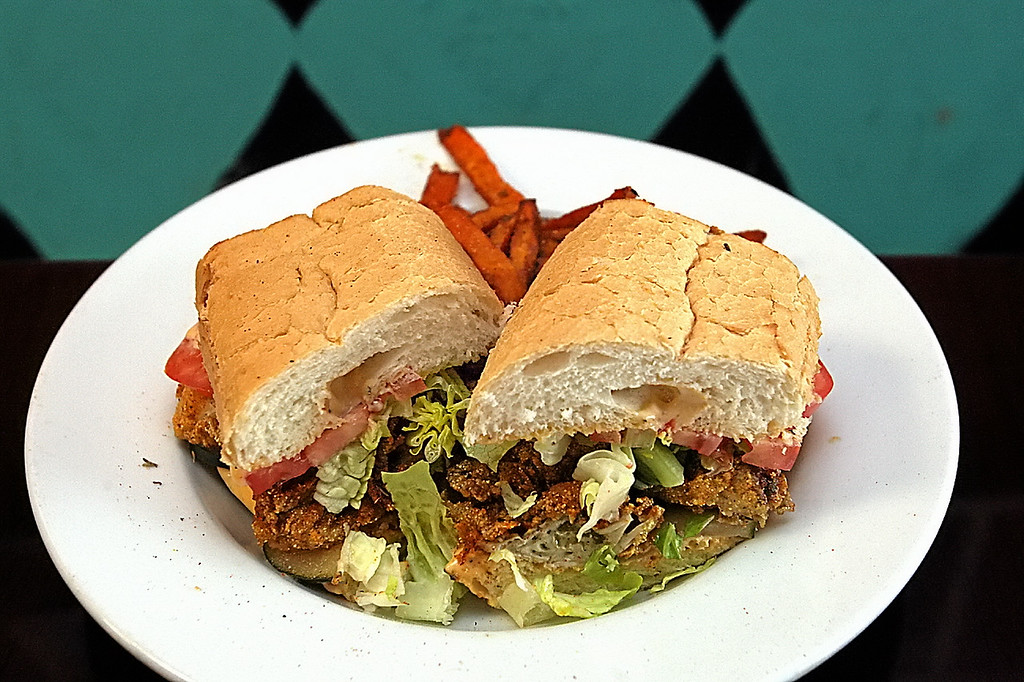 . Oyster Po\'Boy at the Roux Dat in Capitola.  (Dan Coyro -- Santa Cruz Sentinel)