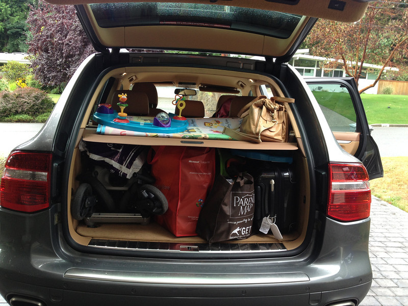 SUV flowing with stuff - mostly Rowan's!