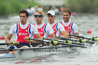 2014 World Rowing Championships, Amsterdam, the Netherlands. 25/08/2014 Heats Repechage25/08/2014 Heats men's  lightweight quadruple sculls Photo: Stefan Racila