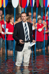 2014 World Rowing Championships, Amsterdam, the Netherlands.23/08/2014 Opening ceremoncy FISA Presdient Jean-Christophe Rolland delivering his opening speech standing bare foorted in the water  Photo: Stefan Racila