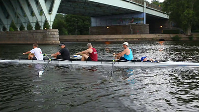 You can see the same problems but they get a little masked at the higher rates.  Generally the boat is moving well but if we get recoveries together, you guys will be much more effective on the drive.  John stroke, notice where you are finishing to.  It is lower than your ribcage which is not where we adjusted the heights to.  This makes your oar wash out which you can see in the video.  Finishes for the rest were much improved.  John Scott watch after the settle that there is a bigger gap between stroke and three.  You have to pivot over a little faster and John Stroke has to not combine arms away with the pivot.  Brian and Tom, nice finishes.