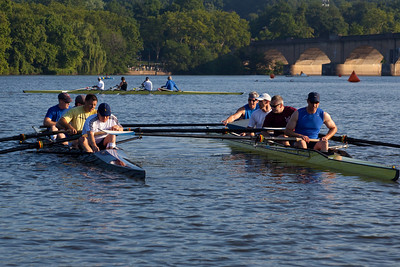 Seat Racing on the Schuylkill with the Triathlon going on the background.