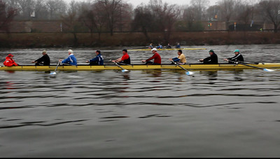 My general observation here is that we really need to get the catch in at the end of the recovery.  We are missing lots of water.  The only person on the port side with enough stroke length is Willeman in the bow seat.  Lets get good reach from the hips and get the blade in before we drive..just like John.
