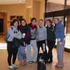 Part of Carolyn's crew plus coach Erin at the Crowne Plaza lobby