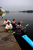 After the demonstration Sama (who was coached by Linda in 2006) and Daanika rowed in a double to get pointers on technique.  As is normal at KBC, the boats are put in the water by the assistants on the dock.