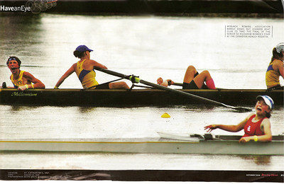 But the comeback just fell short ... this is what a .27 second loss for a Henley Gold feels like!   Carolyn's face and anguished expression tells the pain.  This picture is taken from American Rowing News October 2008.  At the finish, the girls lost by .27 seconds and another stroke would have won them the championship and the title of being the best in North America.  The time of the win was about 8 minutes.  At an even pace, .27 seconds is less than 1 metre.  At finish line speed, the race was likely lost by much less ... one observer noted  that the boat number was the difference.  A great finish!  And it's even more dramatic given that Erin sacrificed her hair to make weight in order to qualify to race.  What a storybook ending had the girls won!  At Henleys, there's GOLD and then there's the rest.