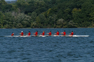 The Guelph's Eight is truly a heavyweight boat and was better able to withstand the wavy conditions