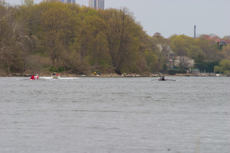 The JV Fours coming down the course.  MIT on the right and Cornell's two fours on the left (one is out of the picture)