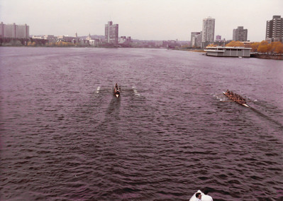 We moved through the bridge, held off Harvard on their move and were about a length ahead when it seemed we had thrown an anchor overboard.  The boat became heavy and we limped back losing by a couple of lengths.  Frosh Lights  Spring 1981.