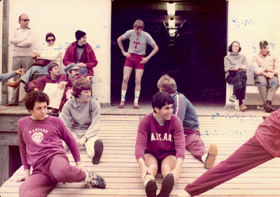 Stretching at Yale.  We lost by two lengths.  Frosh Lights at Yale 1981.