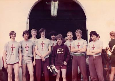 L to R, Phil Michael, Tony Masterson, Andy Kellen, Andrew Osler, Ahsan Iqbal, Steve Carrol, Craig Trautman, Steve Smith, Ed Kneller at Yale. Frosh lights 1981.