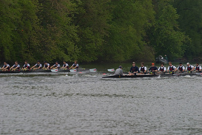 MIT again had the outside of the turn and started ahead.  After the settle, they might have been a stroke higher(36) than Penn(35)