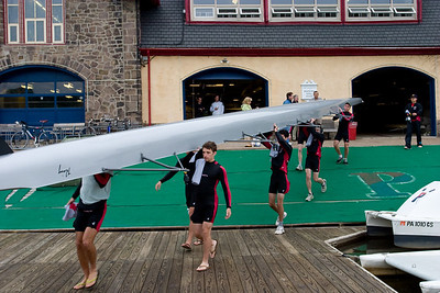 The MIT freshman lightweights launching.  Penn had launched earlier.