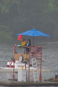 The umbrella over the starter.