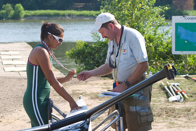 US Rowing checking credentials and the equipment for safety.