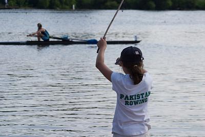 Anisa using her self fashioned fishing rod.