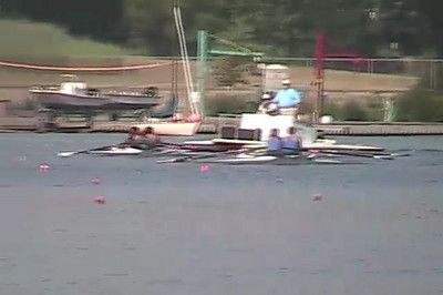 The last 500 meters of the Junior Women's Double Heat.  Detroit Boat Club in blue took second while we were third.  It was top two to qualify.  In They beat the crew from US Development Camp who came in fourth.  These are girls considered to be good enough to try out for the US Junior team the following year.