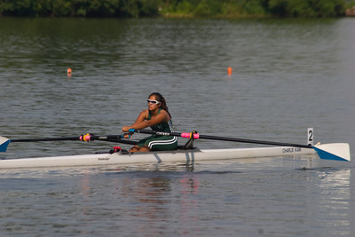 Rowing towards the start in the Junior single event.