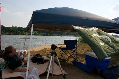 Our tent.  It was lowered so that the wind would not blow it away.