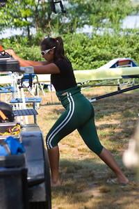 Kiran stretching before her race.