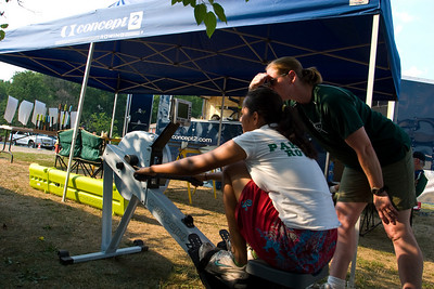 Since Aisha did not have a race she had to work out on the ergometer.