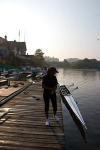 Sunrise on boathouse row.
