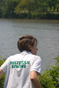Kate joins Team Pakistan and biked along cheering for the girls.