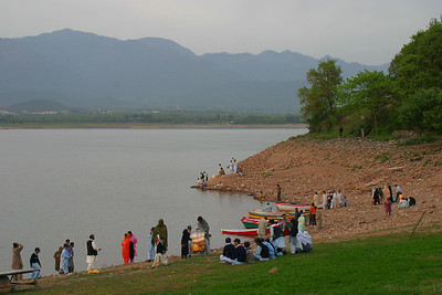 Spring at the Lake.  The brown part is usually underwater.  The place is overrun with schoolboys and schoolgirls on outings.
