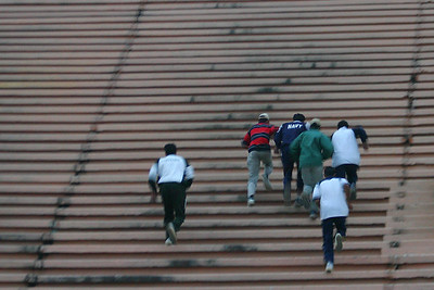 The athletes are exposed to stairs.  Asad in the red and blue striped shirt was almost always the first one up.