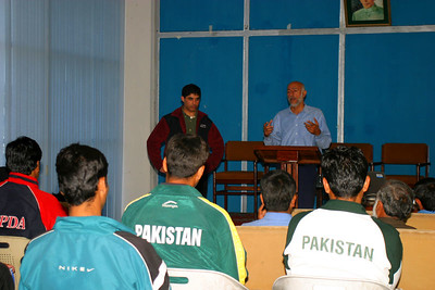 Rizwan giving a lecture on the history of rowing in Pakistan..