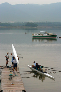 Boats launching from the dock.  The boat anchored in the background is used for sight seeing by VIP's.
