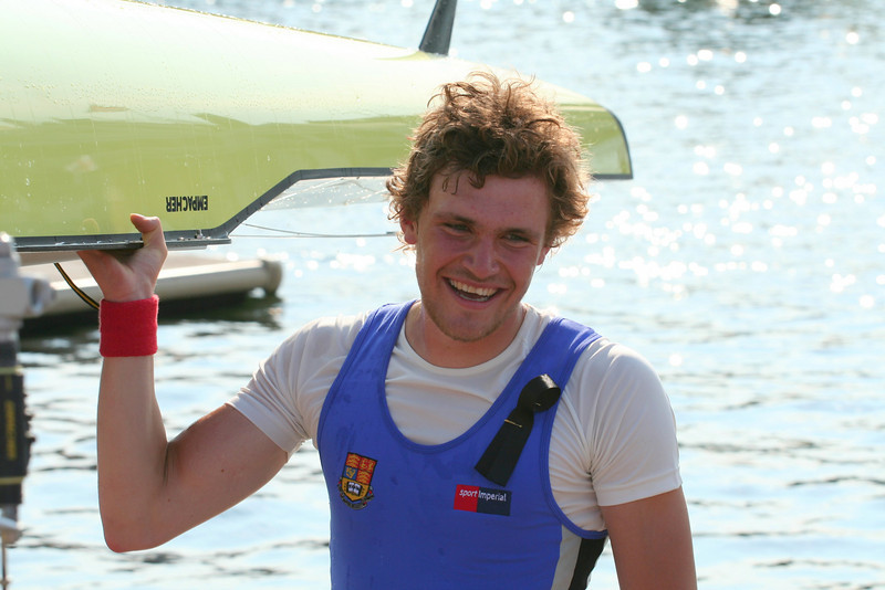Ole looking happy after winning at Henley Royal Regatta. The ribbon is for Steve Stuart who died in a motorbike accident the day before the regatta started.