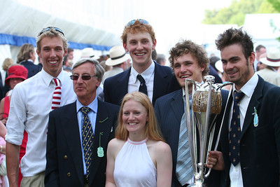 Winners of the Prince Albert Challenge Cup at Henley Royal Regatta 2006 with the rector of Imperial College London. From left to right: Olly Moore, Sir Richard Sykes, Will Laughton, Ali Williams, Ole Tietz and Ben Smith.