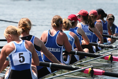 Imperial College Boat Club womens eight coming in to land after racing at Henley Womens Regatta 2006.