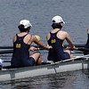 Carolyn's Senior Midweight 4+ rowing to the start of their heat.  Unfortunately, they got nipped at the finish by ELC by less than a second and ended out of the top 6 for the finals.  A disappointing day.