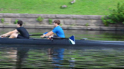 Two little recognized rowers who have been fireballs in the bow.  Chase and Sam.  Both rowing with great preparation.  Sam's drive can be a little faster and he is rigged a little high.  He is also pulling with his arms early in the stroke which is not effective.  Chase with great length uses his long legs effectively and hangs on his oar very well.