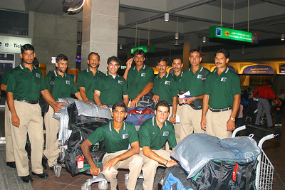 I flew into Islamabad on the morning of 11 August.  After a morning practice, we gathered at the Islamabad Airport to catch a midnight flight to Karachi.  Left to Right - Sabir, Naimat, Ghulam Nabi, Ahsan, Maqbool, Majeed, Riaz, Arshad, .  Sitting L to R, Zohaib and Asad.  We are all wearing our travelling uniforms.